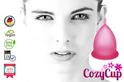Rosa Menstruationstasse CozyCup CLASSIC - Menstruationskappe klein - aus medizinischem Silikon inkl. Stoffbeutel (Gr 1) - 2