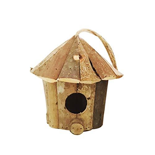 Yardwe Holz Vogelhaus zum Aufhängen Vintage Holzdeko Mini Vogelhäuser Deko Hängende Vogelnest Garten Deko 16 x 16 cm