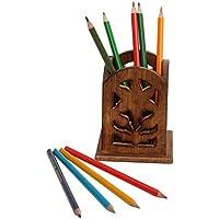 11.4cm legno penna/portapenne/supporto in bruciato finitura design–antico look Premium Quality accessori da scrivania–Office Décor/regali utili per architetti/Poeti