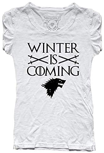 Pacdesign t-shirt donna stark winter is coming game of thrones serie tv il trono di spade tv series pd1457aa (s)