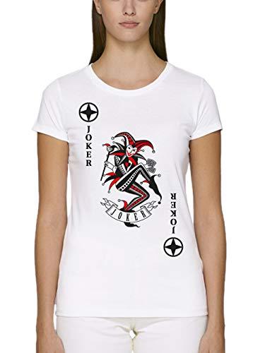 clothinx Damen T-Shirt Unisex Bio und Fair Karneval & Fasching Spielkarte Joker Kostüm Weiß/Schwarz_Rot Größe ()
