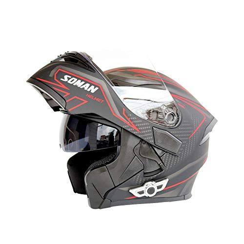 LSUOR Casco Integrale da Casco da Corsa Scooter, Casco da Bicicletta per Casco da Uomo di Sicurezza Casco da Moto off-Road Bluetooth