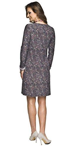 Umstandsmode von Torelle - 2in1 elegantes und bequemes Umstandskleid / Stillkleid, Modell: MARIE Langarm/Muster Violet