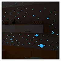 Universe Sticker - 150 BLUE GLOW IN THE DARK STARS AND Planets