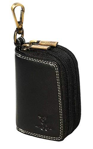 Matador Schlüsselanhänger Schlüsseltasche Echt Leder-Auto-Schlüsselhalter-Kasten-Mappen-Doppelt-Reißverschluss (Schwarz)