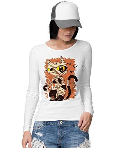 BLAK TEE Cute Halloween Mummy Cat Damen Langarmshirt S
