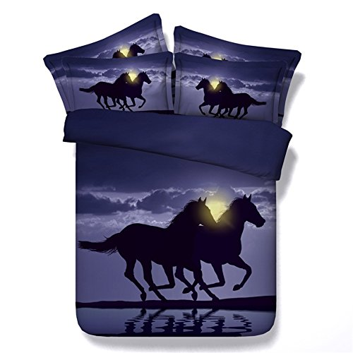 KTLRR Pferde Bettbezug Set Einzelbett, zwei Running Horses in the Sunrise Digitaldruck violett Betten, 3-teilig Bettbezug Sets (keine Tröster), Modal Baumwolle Bettwäsche, Jf113, King(94