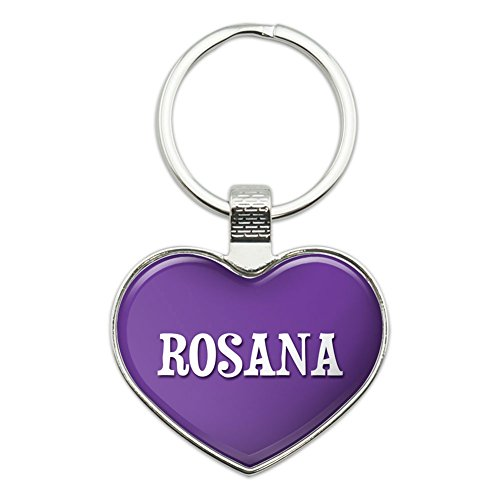 Preisvergleich Produktbild Metall Schlüsselanhänger Kette Ring lila ich liebe Herz Namen weiblich R Risa Rosana