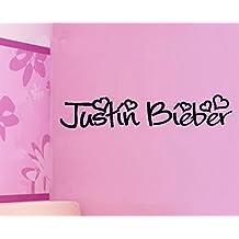Pegatina de Pared PVC Hommay Justin Bieber JustinBieber Love idol dormitorio papel pintado decoración Mural Art dodoskinz 91,4cm x17.8cm