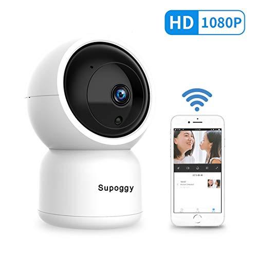 Supoggy Cloud Caméra Surveillance WiFi sans Fil 1080P HD IP Caméra Sécurité Détection de Mouvement Vision Nocturne avec Audio Bi-directionnel Panoramique Contrôle sur Smartphone PC A Distance