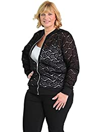 GirlTalkFashions Womens New Lace Detail Plus Size Zip Front Bomber Jacket