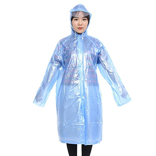 Damen Herren Regenmantel Hochwertig Regenjacke Transluzent Kapuze  Regenschutz