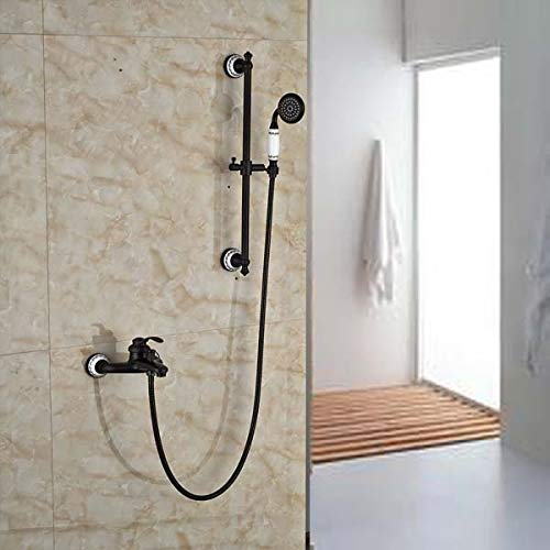 Single Lever Bathroom Tub Shower Faucet Set with Slide Bar Wall Mount Bath Shower Mixer Tap with Handshower,White -