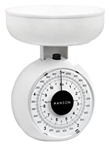 Hanson Kitchen Scale with Bowl, 5 Kg, White