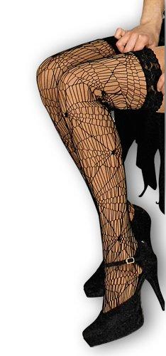 Halterlose Strümpfe Spinnennetz - Overknees zum Kostüm Hexe Spinne Magierin Halloween