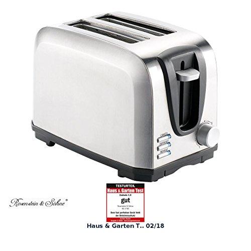 Rosenstein & Söhne Automatik-Toaster: Edelstahl-Toaster für 2 Scheiben, 650 W (Schlitz-Toaster)