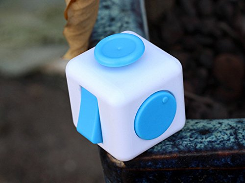 Shine Fun Fidget Adult Anxiety Stress Relief Toys Gift Cubes (White/Blue) -