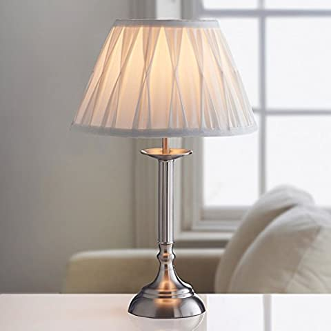 Large Table Lamp Office Desk Oxford Luxury Light Lamp NightLight Bedroom Ivory/Brushed Silver