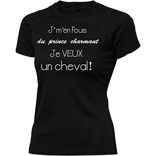 Solenzo - T-Shirt Femme équitation - J'm'en Fou du Prince Charmant Je Veux Un Cheval! (S, Noir)