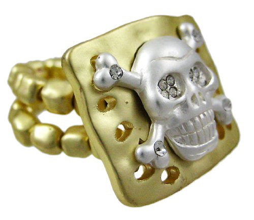 (Strass Totenkopf goldfarbenes Stretch-Ring)