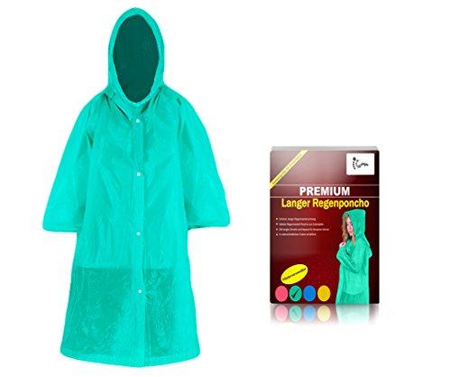 Regenmantel lang zum Zuknöpfen mit Kapuze für Erwachsene (1,60m bis 2,00m) - Stabiler unisex Regenponcho langarm wiederverwendbar für Outdoor-Notfall Regencape, Fahrrad Regenponcho (grün)