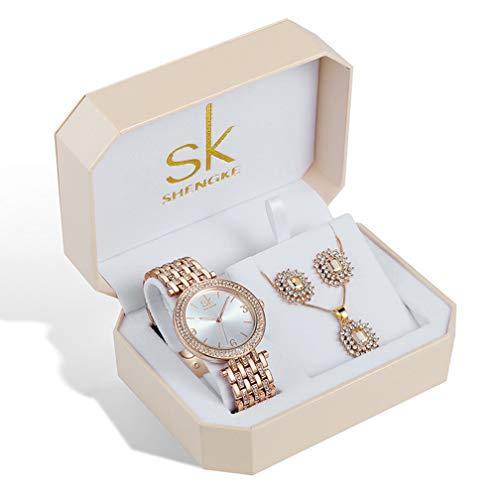 Damenuhren-Sets Quarz-Armbanduhren mit Roségold Ohrring und Halskette 3 Sets Valentinstag Damen Uhr (K0011 Rose Gold)