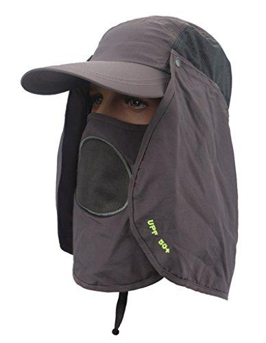 Sumolux UV 50+ Sombrero Gorra con Visera Transpirable Pesca Con Alas y Máscara Extraíble Protege Cuello Gris
