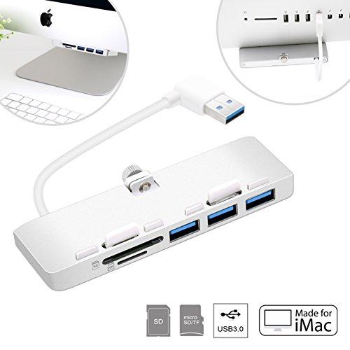 Cateck Hub USB 3.0 de 3 Puertos Ultrafino de Aluminio Premium con Lector de Tarjetas SD/TF Diseñado Exclusivamente para iMac Nuevos (Versión Actualizada)