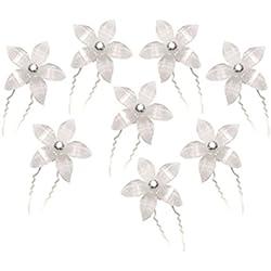 8 pcs boda pelo Pasadores Clips de flor (blanco)