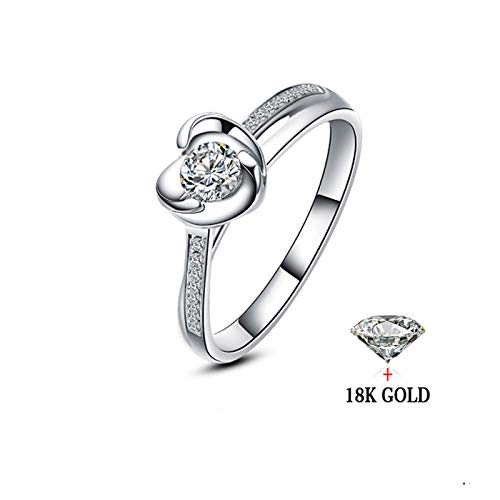 HXUJ 18 Karat Gold Diamant Ring Frauen Hochzeit Weibliche Liebhaber Echte Reale Natürliche Südafrika Vorschlagen Engagement Jahrestag Benutzerdefinierte,5.5 - Weibliche Natürliche
