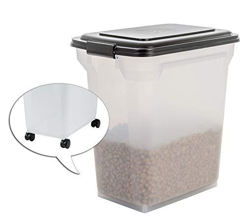 IRIS, luftdichte Futtertonne / Futtercontainer / Futterbehälter ATS-L, für Hundefutter, Kunststoff, transparent / schwarz, 45 Liter / 15 kg