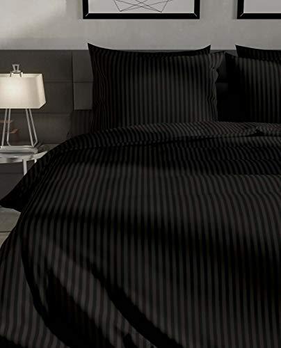 Heckett & Lane Hotel-Qualität Bettwäsche-Set 200 x 200 cm + 2 Kissenbezüge 80 x 80 cm, mit Reißverschluss, Satin-Stripes in Farbe Night Black (Schwarz) - 100% Baumwolle Mako-Satin -