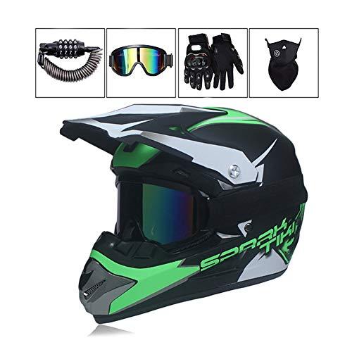 LEENY Motocross-Helm, Herren Motorrad-Off-Road-Helm mit Brille/Maske/Handschuhe/Sicherheitsschloss, Cross-Helm DH Enduro Quads ATV BMX Motorräder-Helm für Männer Damens,L - Fox Racing Mädchen Handschuh