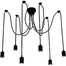Lixada Luz Lámpara del Techo Candelabro Iluminación Retra Antigua Colgante Clásica Ajustable DIY con 6 Brazos de Araña para Bombilla E27 para Comedor Hotel Etc.(Cada cable