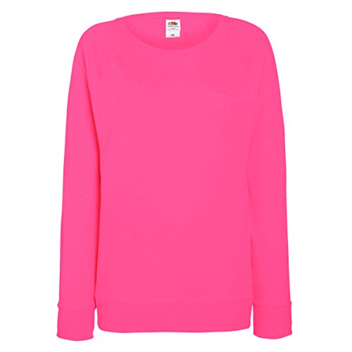 Fruit OF The Loom Damen Raglan Sweatshirt S,Fuchsia (Rosa Raglan-Ärmel)