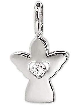 CLEVER SCHMUCK Silberner Anhänger Mini Engel 10 mm mit einem Zirkonia im offenem Innen-Herz gefaßt STERLING SILBER...