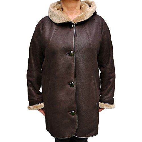 Lammfelljacke - FRANKA Damen Jacke Lederjacke Winterjacke Echtleder mit Kapuze Size XXL, Color Braun