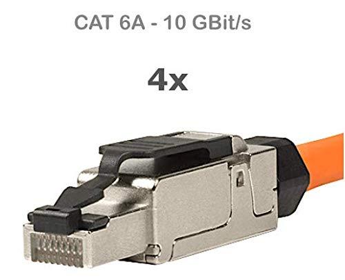 odedo 4X RJ45 Cat 6A Netzwerkstecker feldkonfektionierbar Cat7 geschirmt 10 Gigabit werkzeugfreie Montage mit Zugentlastung, Crimp Stecker Field Terminable Plug (4 Stück) - Wiederverwendbare Zugentlastung