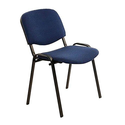 Sedia da ufficio poltrona fissa per sala attesa metallo e cotone/panno colore blu confezione da 1pz