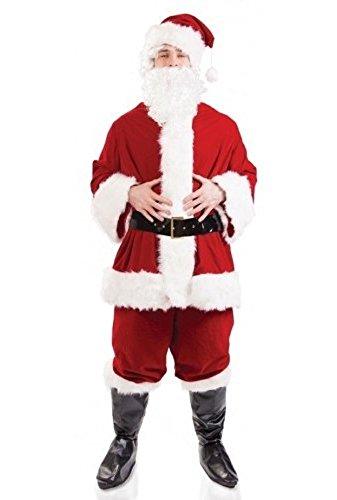Herren 7 PC Plüsch Deluxe Weihnachtsmann Santa Claus Anzug Verkleidung Kleid Kostüm mit Perücke und Bart M-XL - Rot, X-Large