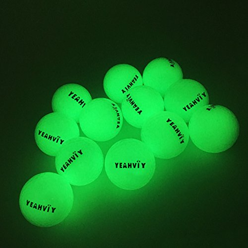 (12 Pack)Yeahviy Night Golfbälle,Night Glow Golf Ball Professional Praxis Golfbälle für Neuheit Kinder Geschenk,Ultra Bright Long Lasting Reusable Bright (12 Pack)