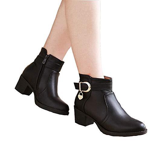 MYMYG Damen Chelsea Boots Stiefel Frauen PU Leder Bruckle Strap Runde Zehe Schuhe Square High Heel Stiefel Lederschuhe Stylische Schnalle Winter Herbst warme ()