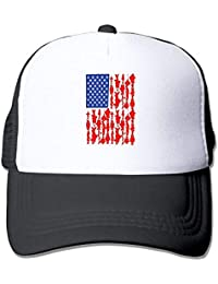 f988c603e55c6 Voxpkrs EE.UU. Pesca Bandera Americana Pesca Unisex Sombreros Ajustables  Gorros de Hip Hop