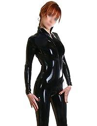 ezshe Mujer Negro Látex de goma Catsuit Body Unitard
