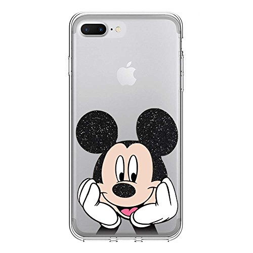 IP7Plus TPU Softcae Weiß Protective Schutzhülle Handycover Etui Bumper Staubdicht Telefon-Kasten Case Shell Abdeckung Bumper Back Cover Fashion glitter Disney Minnie Mouse Fluo Fluoreszierend, iPhone  Mickey Mouse