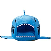 JeogYong Cama Gato, Lavable Forma de Tiburón Cama de Perro y Gato con Cojín Extraíble