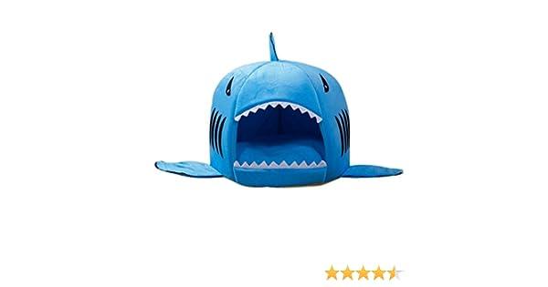 Cuccia squalo Large, Rosa JeogYong Forma di Squalo Rotonda Letto per Gatti e Cane con Cuscino Rimovibile