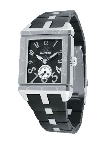 Time Force - TF2958L01 - Montre femme - Quartz Analogique - Cadran Noir - Bracelet en Caoutchouc Noir