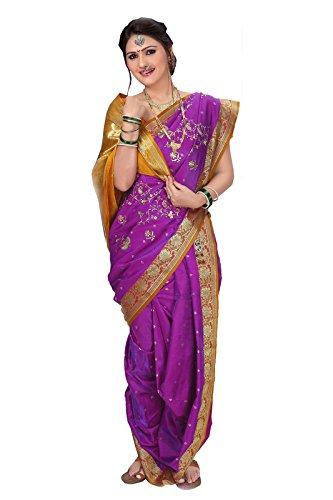 Bhartiya Vastra Bhandar Women's Ready To Wear Nauvari Saree(DNo6_SatinReshma_Multi-Coloured_FreeSize)