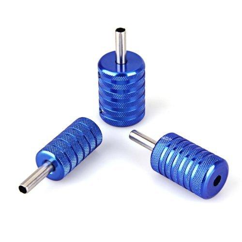 SODIAL(R) 3x blau Tattoo Griffstueck Griff Grip fuer Tattoomaschine Alu 25/30/35mm